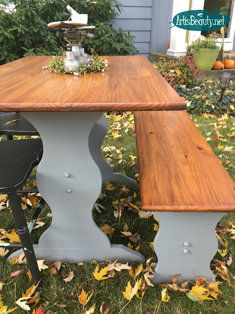 general finishes custom color milk paint farmhouse table makeover before and after diy