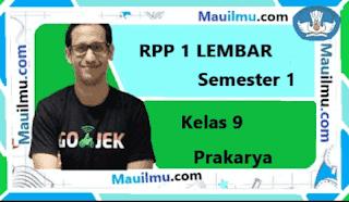 RPP 1 Lembar Prakarya kelas 9 semester 1 daring