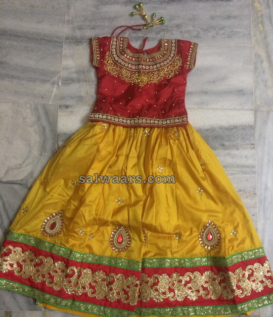 Yellow and Red Pure Silk Kids Lehenga