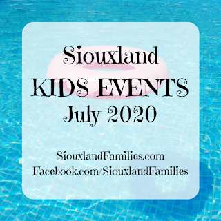 "In background, a light brown and pink inflatable donut float sits atop a bright blue swimming pool. in foreground ""Siouxland Kids Events July 2020"" and ""SiouxlandFamilies.com Facebook.com/SiouxlandFamilies"""