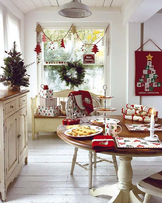 Traditional Holiday Decor in kitchen.