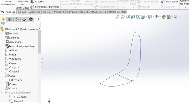 silueta 3D de la silla eames en solidworks