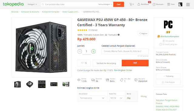GAMEMAX GP450 - Beli di tokopedia