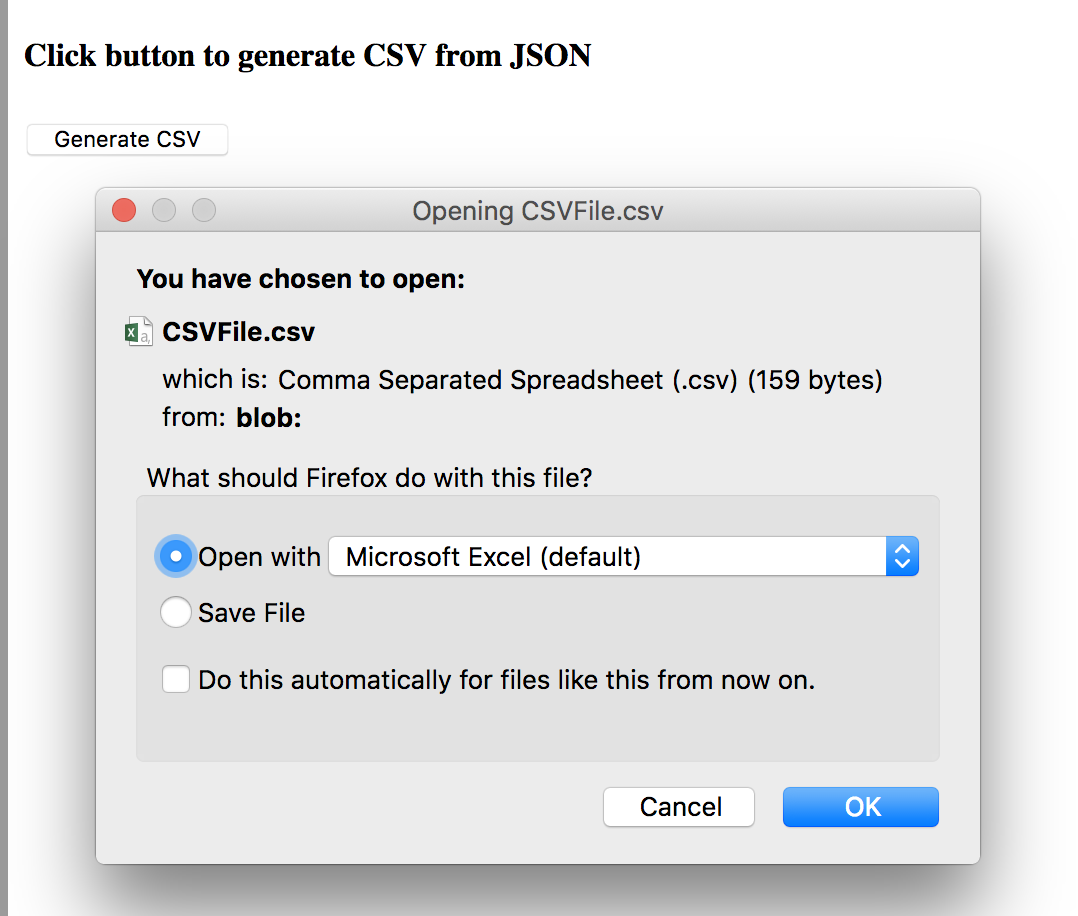 Generate a downloadable CSV File from JSON - AngularJS