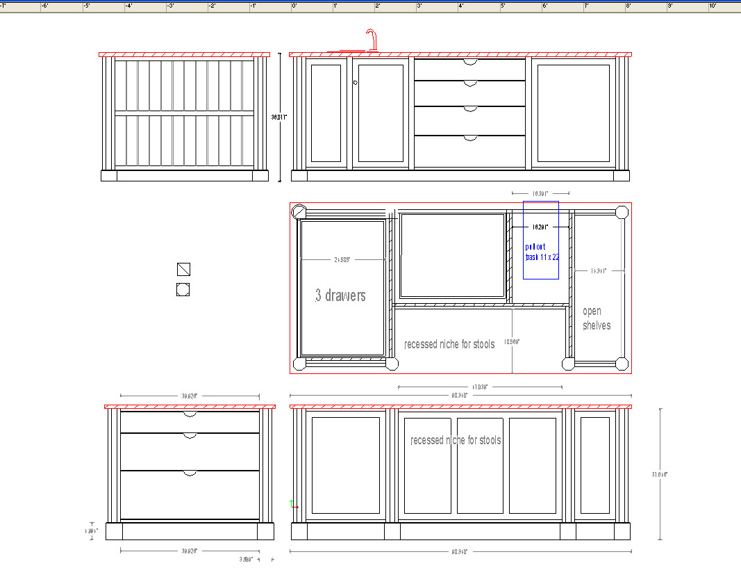 Kitchen with Island Layouts Dimensions
