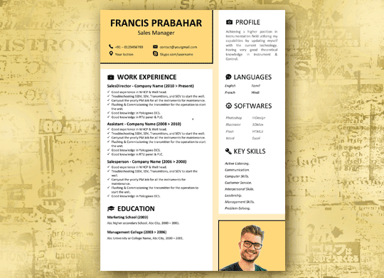 Yellow Skin - A Modern Free Resume Template