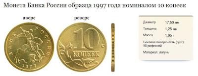 Десять копеек образца 1997 года