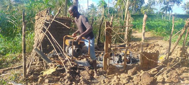 The burnt generators in Langobaya. FILE