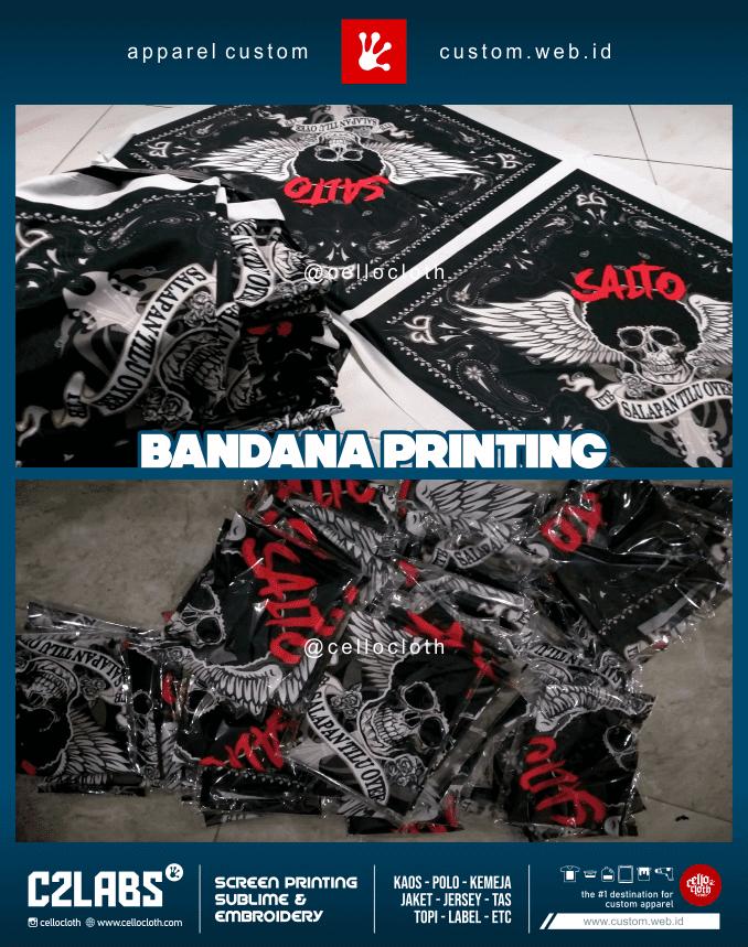 Bandan Printing Custom Desain Suka Suka 1 Lusin 12 Desain - C2 Labs