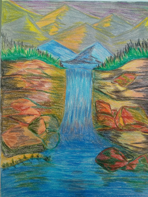Waterfall drawing image