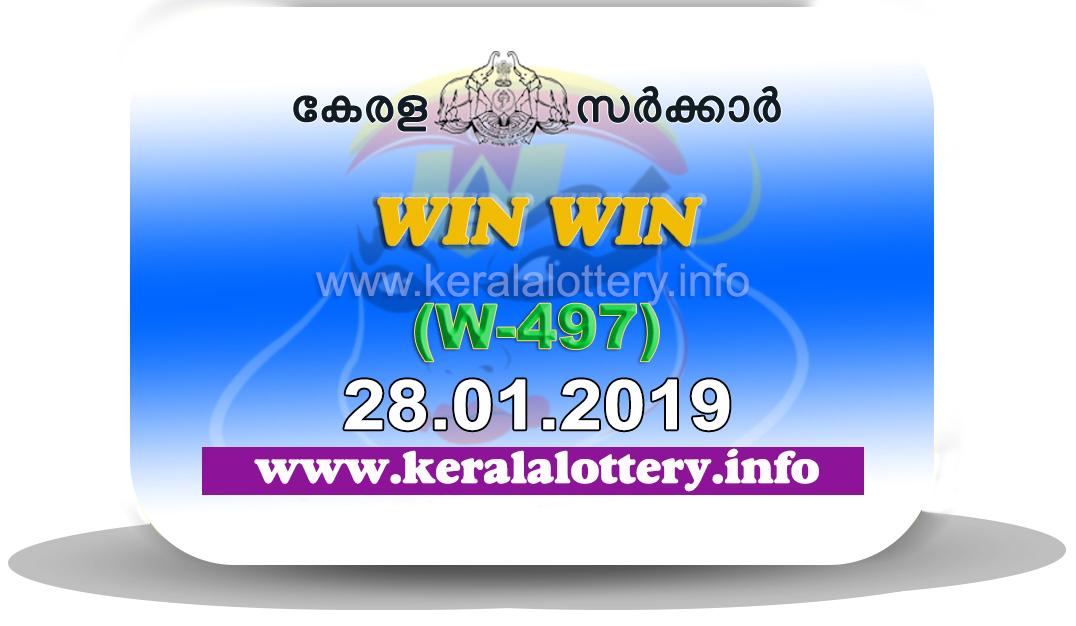 Kerala Lottery Results 28.01.2019 Win Win W-497 Result