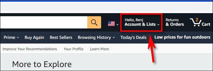 انقر فوق اسم حسابك في شريط أدوات Amazon.com.
