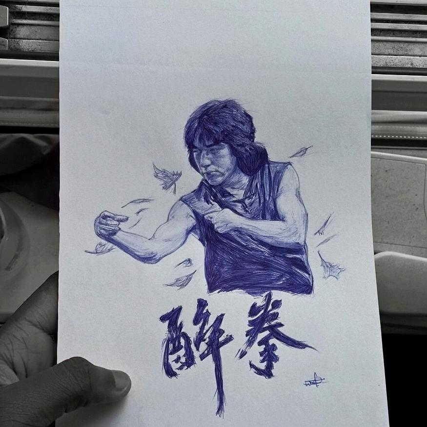 10-Drunken-Master-醉拳-Larry-Tamara-Ballpoint-Pen-Portraits-Progression-Drawings-www-designstack-co