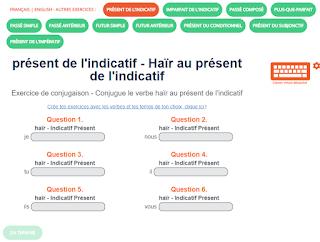 Orthoblog Fr Exercice De Conjugaison Le Verbe Hair Au Present De L Indicatif