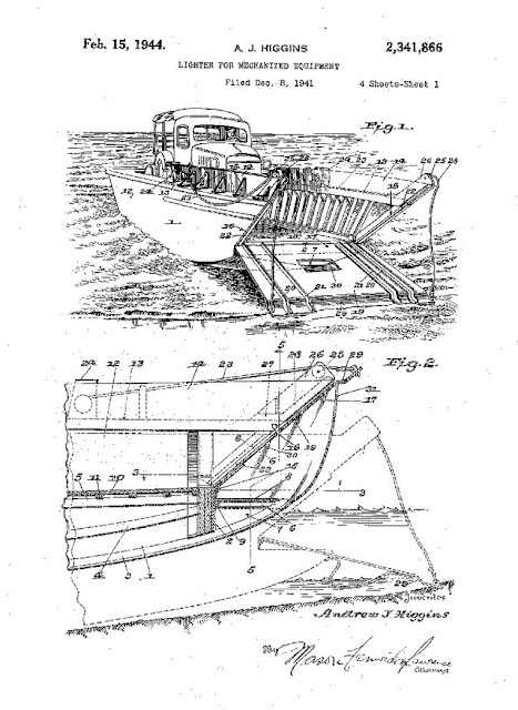 Patent drawing for Landing Craft during World War II worldwartwofilminspector.com