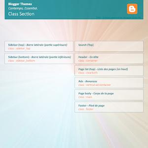 Classes des sections dans les themes Contempo et Essential