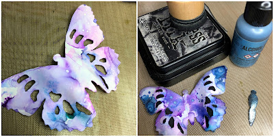 Tim Holtz Sizzix Tattered Butterfly Distress Oxide Sprays Alcohol Pearls Tutorial by Sara Emily Barker https://frillyandfunkie.blogspot.com/2019/03/saturday-showcase-tim-holtz-tattered.html 16