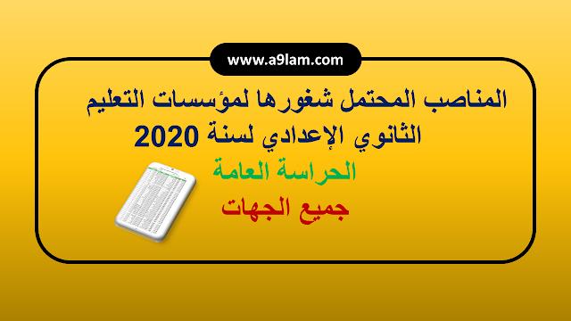 المناصب المحتمل شغورها لمؤسسات  التعليم التعليم الثانوي الإعدادي لسنة .2020 جميع الجهات - مهمة المنصب : حارس عام للداخلية والخارجية.