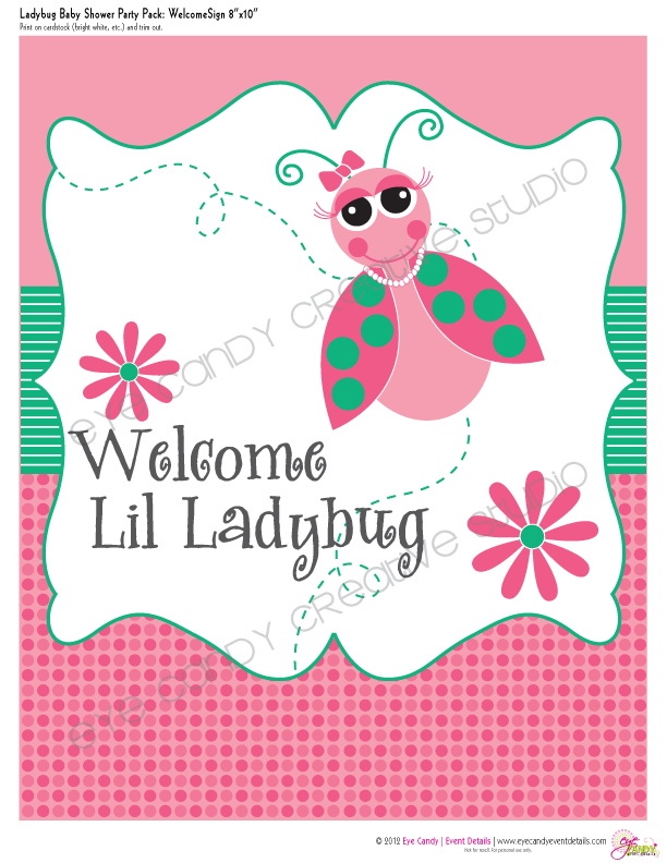 welcome sign for ladybug baby shower, welcome lil ladybug, girl shower