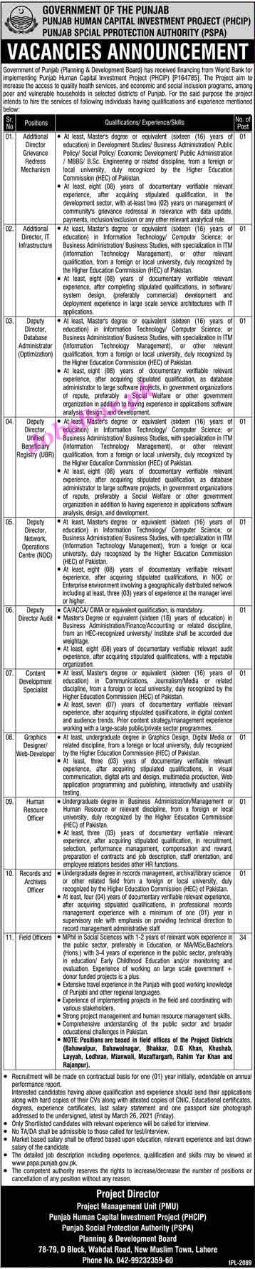 Latest Punjab Social Protection Authority PSPA Jobs 2021