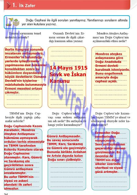 8. Sınıf Top Yayınları İnkılap Tarihi Çalışma Kitabı Cevapları Sayfa 34