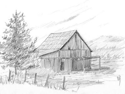 pencil graphite sketch farm barn derelict dilapidated abandoned