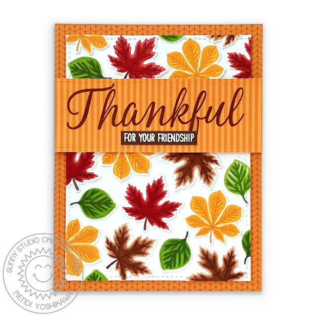 Sunny Studio Thankful For Your Friendship Layered Leaves Orange Cable Knit Fall Card (using Crisp Autumn, Elegant Leaves, Words of Gratitude Stamps, Stitched Rectangle Dies & Sweater Weather Paper)