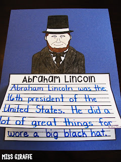 Abraham Lincoln craft for writing where kids just write color cut and glue