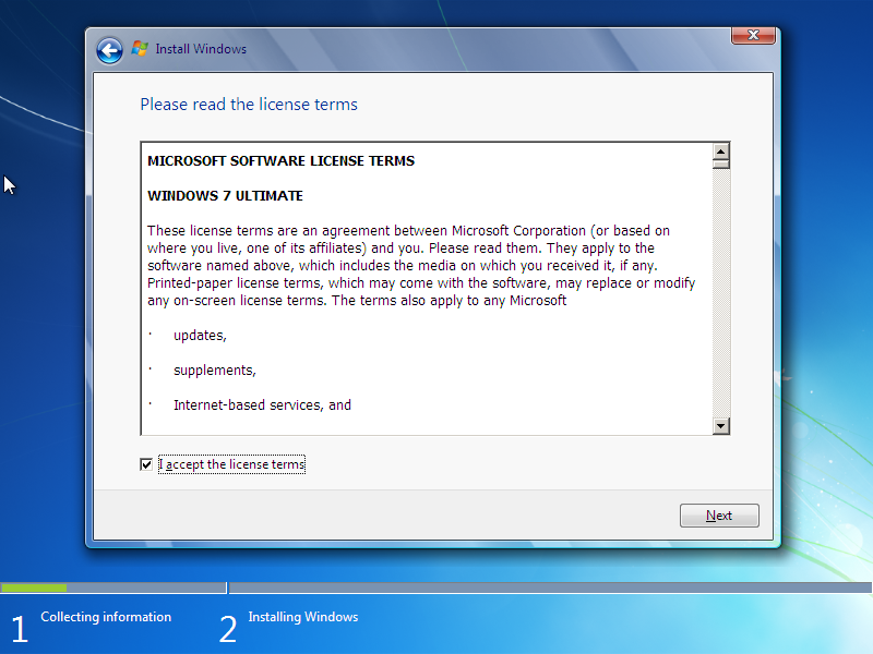 License Terms Windows 7