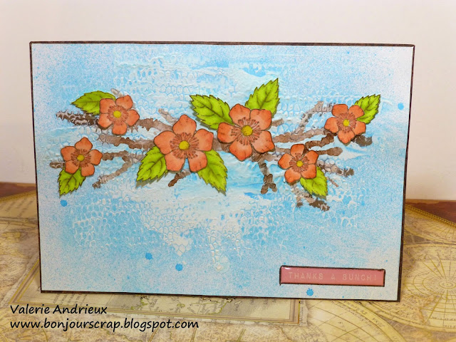 mixed media card tutorial with texture and flowers stamps