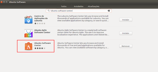 Ubuntu Software Center no Ubuntu 16.04 LTS