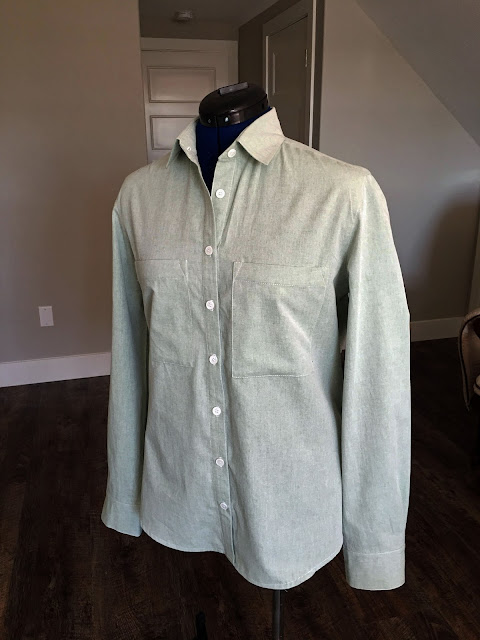Archer Shirt made from IndieSew chambray.