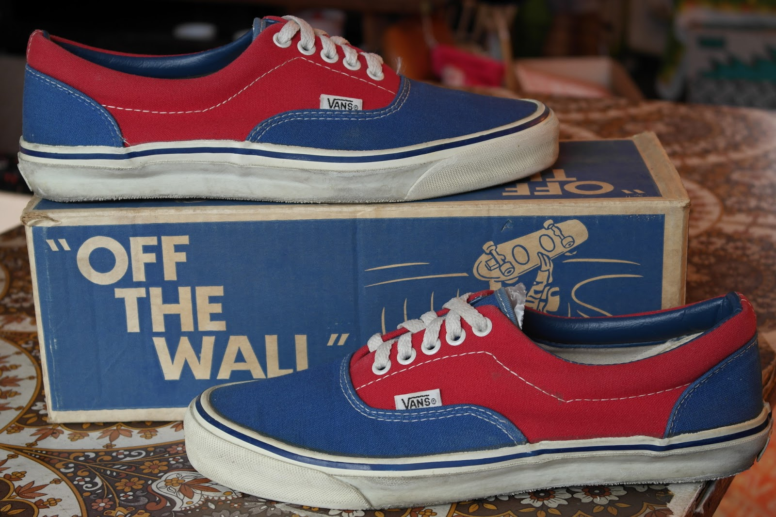 122a07a7fd9873 theothersideofthepillow  vintage VANS 2-tone red   blue DOGTOWN canvas ERA  style  95 MADE IN USA 80 s US10 skate bmx shoes holy grail