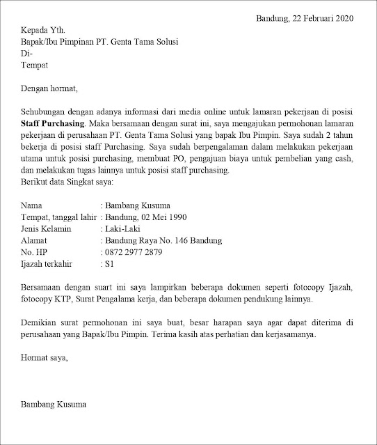 Contoh Surat Lamaran Pekerjaan Untuk Penjualan dan Retail