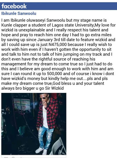 Upcoming artiste begs Wizkid for collabo, says he can offer this...