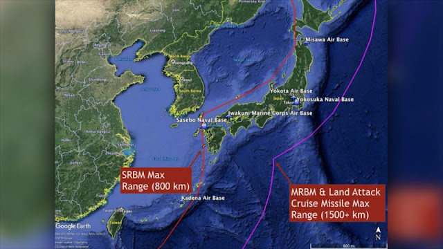 """China organiza ataques misilísticos a bases de EEUU en Japón"""