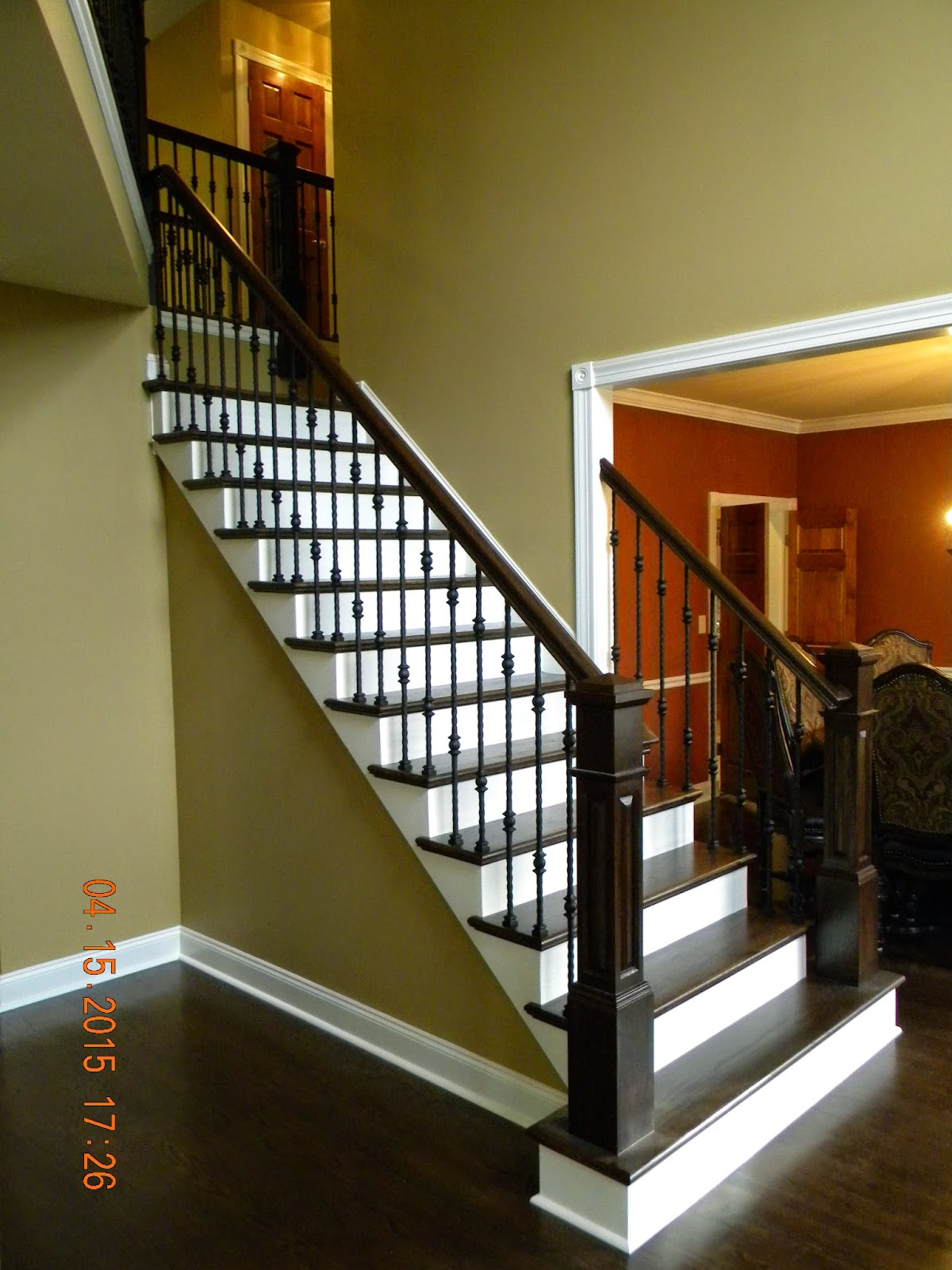 Wood Stairs And Rails And Iron Balusters Oak Handrail And | Black Metal Spindles For Staircase
