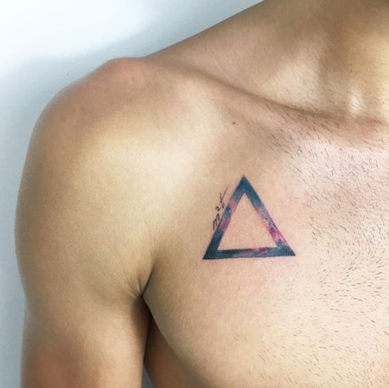Triangle Shape tattoo on chest for men