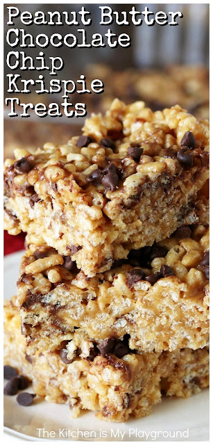 Peanut Butter Chocolate Chip Rice Krispies Treats ~ Loaded with creamy peanut butter, mini chocolate chips, and lots of fabulous flavor, these are a totally tasty take on the classic that any peanut butter-chocolate fan will love!  www.thekitchenismyplayground.com