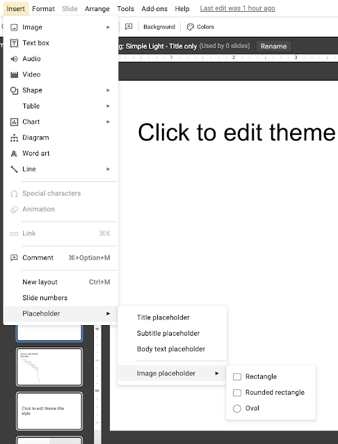 Image placeholders can be inserted from the Theme Builder View through the Insert menu.