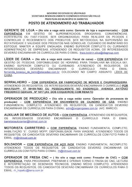 VAGAS DE EMPREGO DO PAT BARRETOS PARA 05-08-2020 PUBLICADAS NA TARDE DE 04-08-2020 PAG. 3
