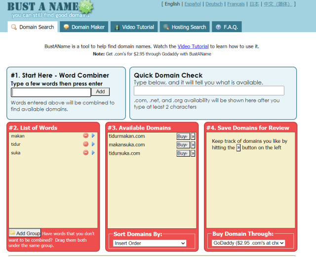 Bust Name Our free tool lets you enter words and it will try every combination and tell you which are available.