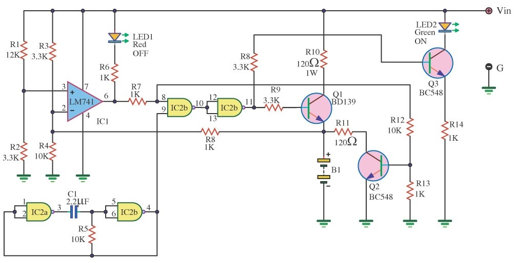 lm741 using dry cell battery charger circuit hp photosmart printer rh acurawiringdiagrams blogspot com