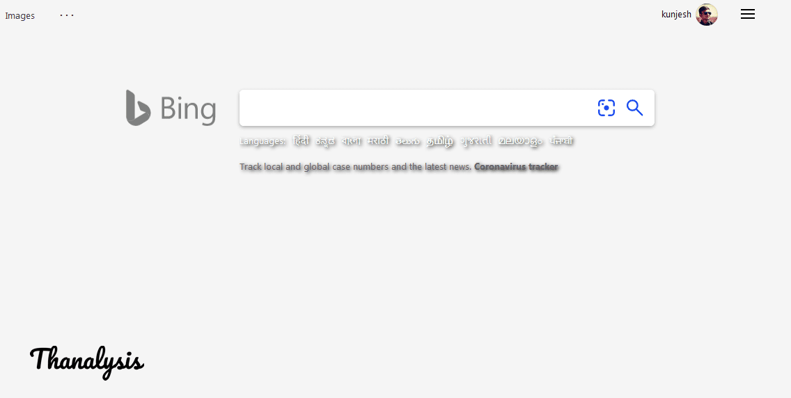 Home page of Bing Search Engine