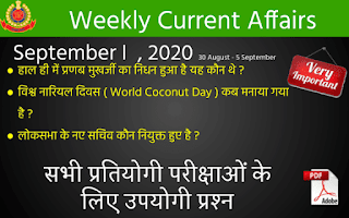 Weekly Current Affairs Quiz ( September I , 2020 )