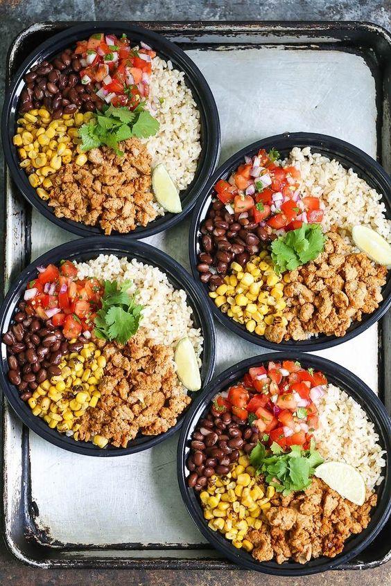 CHICKEN BURRITO BOWL MEAL PREP #chicken #burrito #bowl #meal #prep #lunch #lunchrecipes #easylunchrecipes
