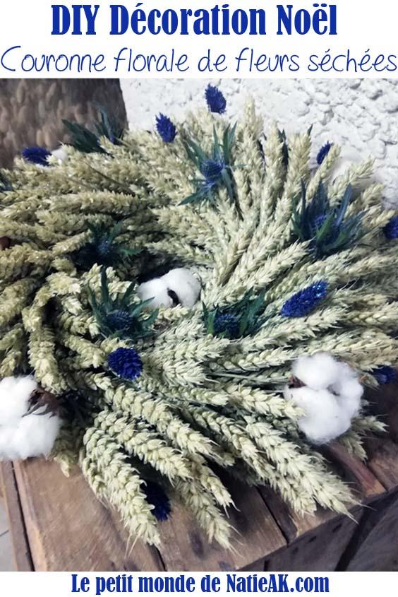 DIY  décoration Noël Couronne de fleurs séchées