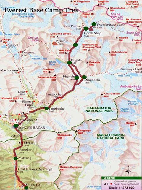 Map of Everest Base Camp Trekking