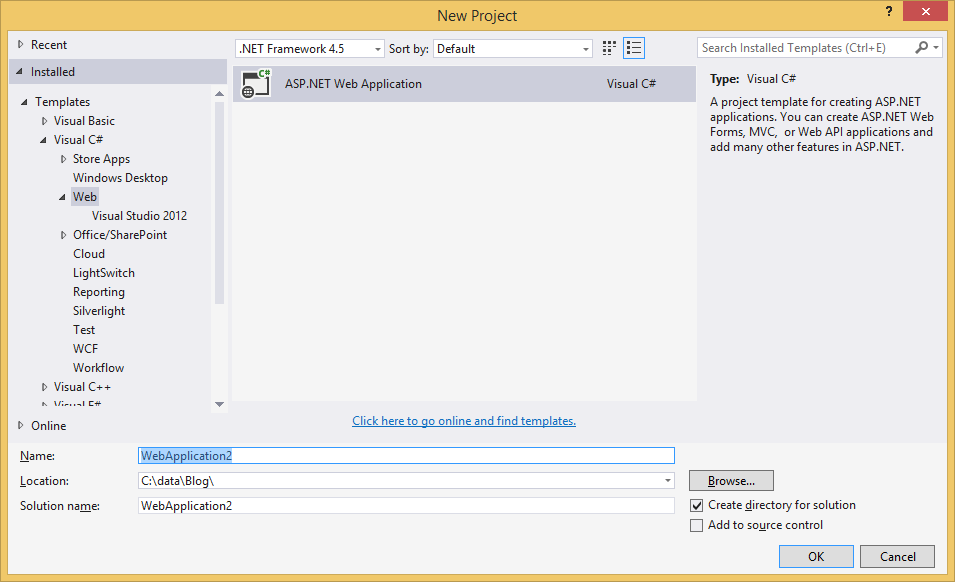 one asp.net visual studio 2013