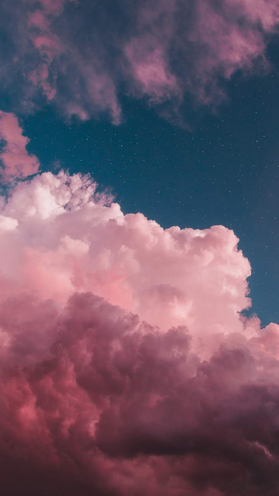 Pink clouds in the night sky